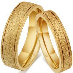 *COI Gold Tone Titanium Double Grooves Sandblasted Ring-5545