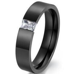 COI Black Titanium Solitaire Ring With Cubic Zirconia-5561