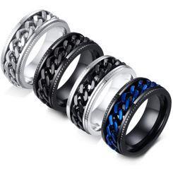 COI Titanium Silver/Black/Silver Black/Black Blue Chain Link Ring-5566
