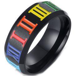 COI Black Titanium Rainbow Pride Ring With Roman Numerals-5567