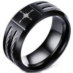 COI Black Titanium Ring With Wire-5570