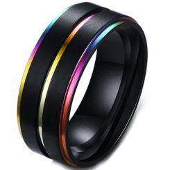 COI Black Titanium Rainbow Pride Center Groove Step Edges Ring-5572