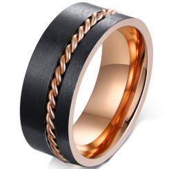 COI Titanium Black Rose Offset Wire Pipe Cut Flat Ring-5584