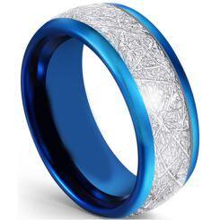 COI Blue Titanium Dome Court Ring With Meteorite-5593