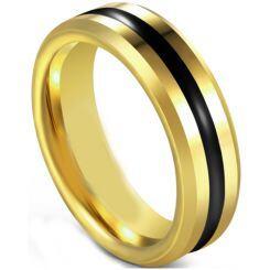COI Titanium Black Gold Tone Center Groove Beveled Edges Ring-5597