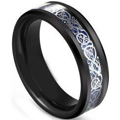 COI Titanium Black Blue Dragon Beveled Edges Ring-5607