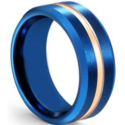 COI Titanium Blue Rose Center Groove Beveled Edges Ring-5608