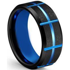 COI Titanium Black Blue Grooves Beveled Edges Ring-5613