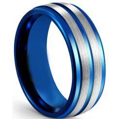COI Titanium Blue Silver Step Edges Ring-5614