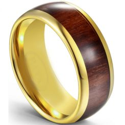 COI Gold Tone Titanium Dome Court Ring With Wood-5616