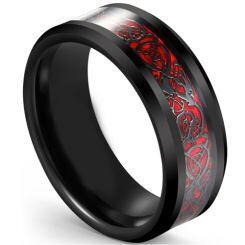 COI Titanium Black Red Dragon Beveled Edges Ring-5617