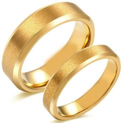 COI Gold Tone Titanium Sandblasted Beveled Edges Ring-5618