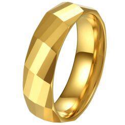 COI Gold Tone Titanium Faceted Ring-5620