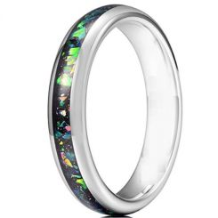 COI Titanium Dome Court Ring With Crushed Opal-5621