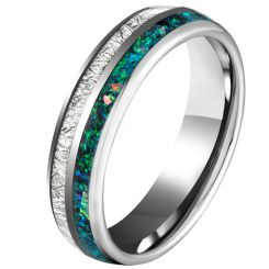 COI Titanium Dome Court Ring With Meteorite and Crushed Opal-5625
