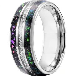 COI Titanium Dome Court Ring With Meteorite and Crushed Opal-5626