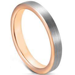 COI Titanium Rose Silver Pipe Cut Flat Ring-5627