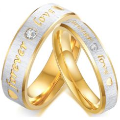*COI Titanium Gold Tone Silver Forever Love Ring With Cubic Zirconia-5633