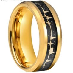 COI Gold Tone Titanium Heartbeat Beveled Edges Ring With Carbon Fiber-5660