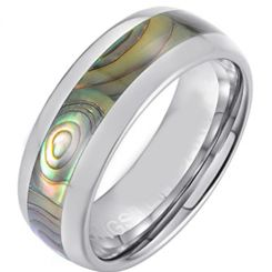COI Titanium Dome Court Ring With Abalone Shell-5661