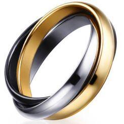 COI Titanium Black Gold Tone Silver Dome Court Ring-5680