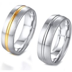 *COI Titanium Gold Tone Silver/Silver Center Groove Dome Court Ring-5682