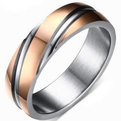 COI Titanium Rose Silver Diagonal Grooves Ring-5683