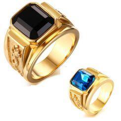 COI Gold Tone Titanium Ring With Black Agate/Created Blue Sapphire-5707