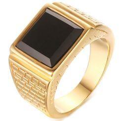 COI Gold Tone Titanium Ring With Black Agate-5711