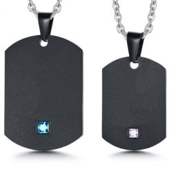 COI Black Titanium Dog Tag Pendant With Pink/Blue Cubic Zirconia-5740