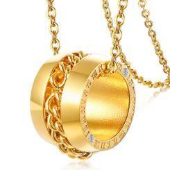 COI Gold Tone Titanium Roman Numerals Pendant With Cubic Zirconia-5747