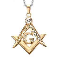 COI Gold Tone Titanium Masonic Pendant With Cubic Zirconia-5750