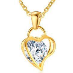 COI Gold Tone Titanium Heart Pendant With Cubic Zirconia-5763