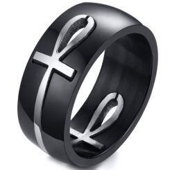 COI Titanium Black Silver/Gold Tone Cross Dome Court Ring-5773