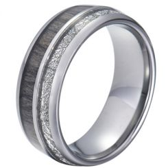 COI Titanium Deer Antler and Meteorite Dome Court Ring-JT5775
