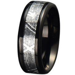 COI Black Titanium Silver Inlays Beveled Edges Ring-JT5778