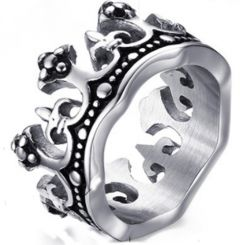 COI Titanium Black Silver King Crown Ring-5780