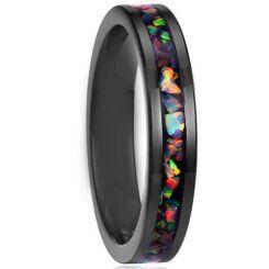 COI Black Titanium Crushed Opal Pipe Cut Flat Ring-JT5789