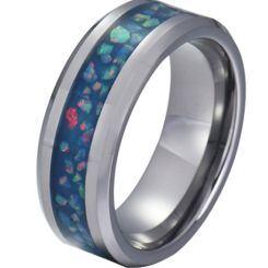 COI Titanium Crushed Opal Beveled Edges Ring-JT5790