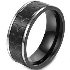 COI Titanium Black Silver Grooves Ring-5799