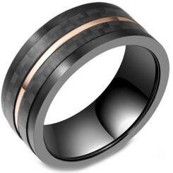 **COI Titanium Black Rose Ring With Carbon Fiber-5803