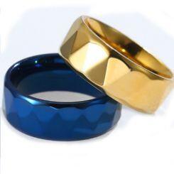COI Titanium Black/Gold Tone Faceted Ring-5808