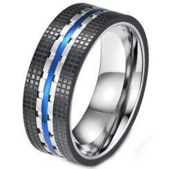 **COI Titanium Black Blue Tire Tread Ring-5813