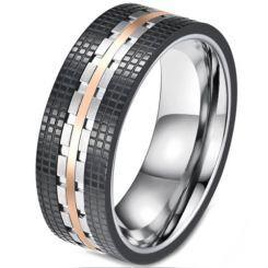 COI Titanium Black Rose Tire Tread Ring-5814