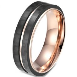 COI Titanium Black Rose Center Grooves Step Edges Ring-5815