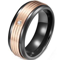 **COI Titanium Black Rose Triple Grooves Ring With Cubic Zirconia-5818
