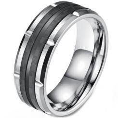 COI Titanium Black Silver Tire Tread Ring-5819
