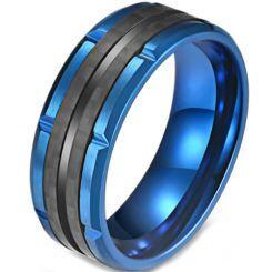 COI Titanium Blue Black Tire Tread Ring-5820