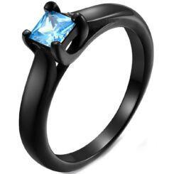 COI Black Titanium Solitaire Ring With Blue/Pink Cubic Zirconia-5824