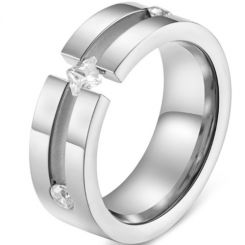 *COI Titanium Silver/Rose Center Groove Solitaire Ring With Cubic Zirconia-5831